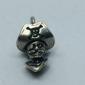 Sterling Skull & Crossbones 3D Pirate Charm/Pendan